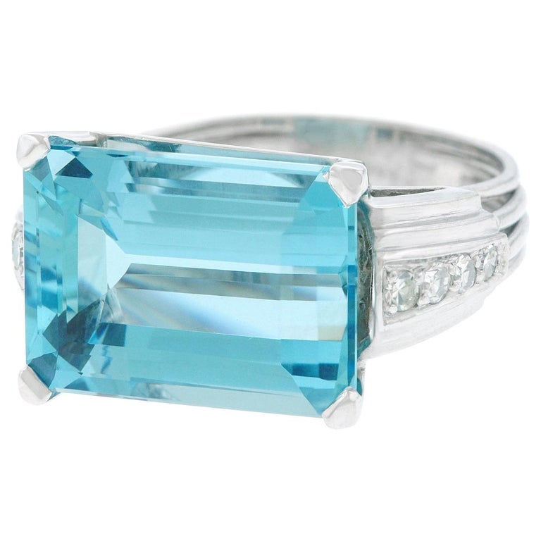 Art Deco Aquamarine and Diamond Set Gold and Platinum Ring