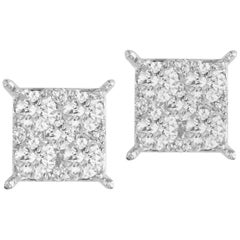 0.86 Carat Diamond Cluster Stud Earrings in White Gold