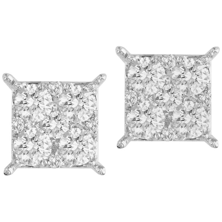 0.86 Carat Diamond Cluster Stud Earrings in White Gold For Sale