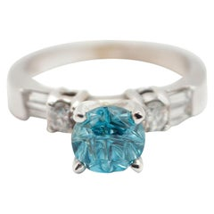 14 Karat White Gold, 0.43 Carat Diamond and 1.83 Carat Blue Zircon Ring