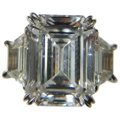 GIA Certified 6.55 Carat Emerald Cut Diamond D SI1 Ring by Louis Newman & Co.