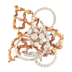 Solid 18 Karat White and Rose Gold Diamond Statement Ring 8.1g