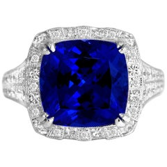6.99 Carat Vivid Blue Tanzanite and Diamond Cocktail Ring in 18 Karat White Gold