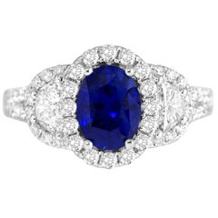 2.26 Carat Oval Cut Vivid Blue Ceylon Sapphire and Diamond Ring in White Gold