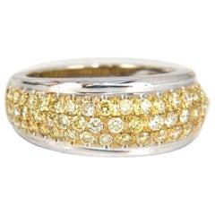 1.60 Carat Natural Fancy Yellow Diamonds Ring 18 Karat