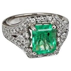 2.91 Carat Natural Colombian Emerald Cut Emerald Engagement Ring 18 Karat