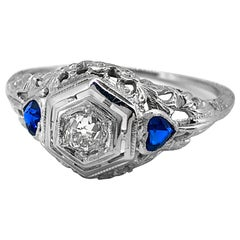 Edwardian .20 Carat T.W. Diamond and .40 Carat T.W. Sapphire Ring 18 Karat