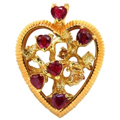 4.75 Carat Natural Vivid Heart Shaped Ruby Fancy Yellow Diamond 3d Heart Pendant