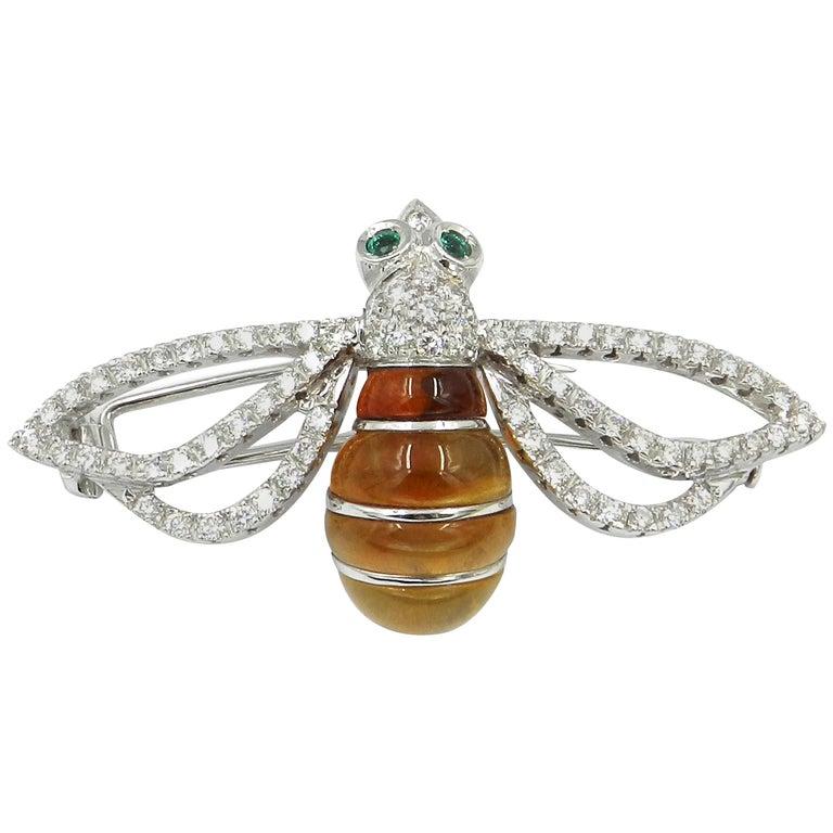 18 Karat White Gold Diamonds and Honey Quartz Bee Brooch