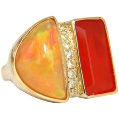 17.44 Carat Natural Opal and Garnet Diamonds Ring 14 Karat Deco Prime
