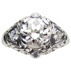 Art Deco 1.74 Carat Transitional-Cut Diamond Platinum Filigree Engagement Ring