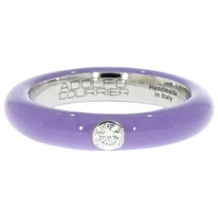Lilac Enamel Single Diamond Stackable Ring by Adolfo Courrier