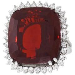 30.0 Carat Garnet and Diamond Set Ring