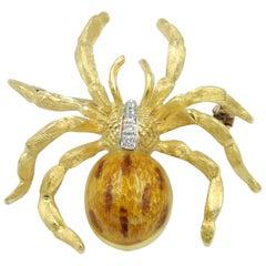 18 Karat Yellow Gold Enamel, Diamond Head Spider Brooch