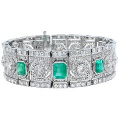 Art Deco Emerald and Diamond Wide Bracelet in 18 Karat White Gold