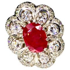 Unheated Ruby and Diamond Cocktail Ring