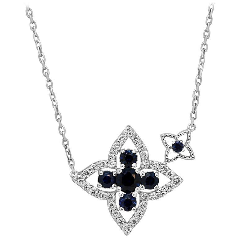 Blue Sapphire Diamond Gold Chain Drop Necklace