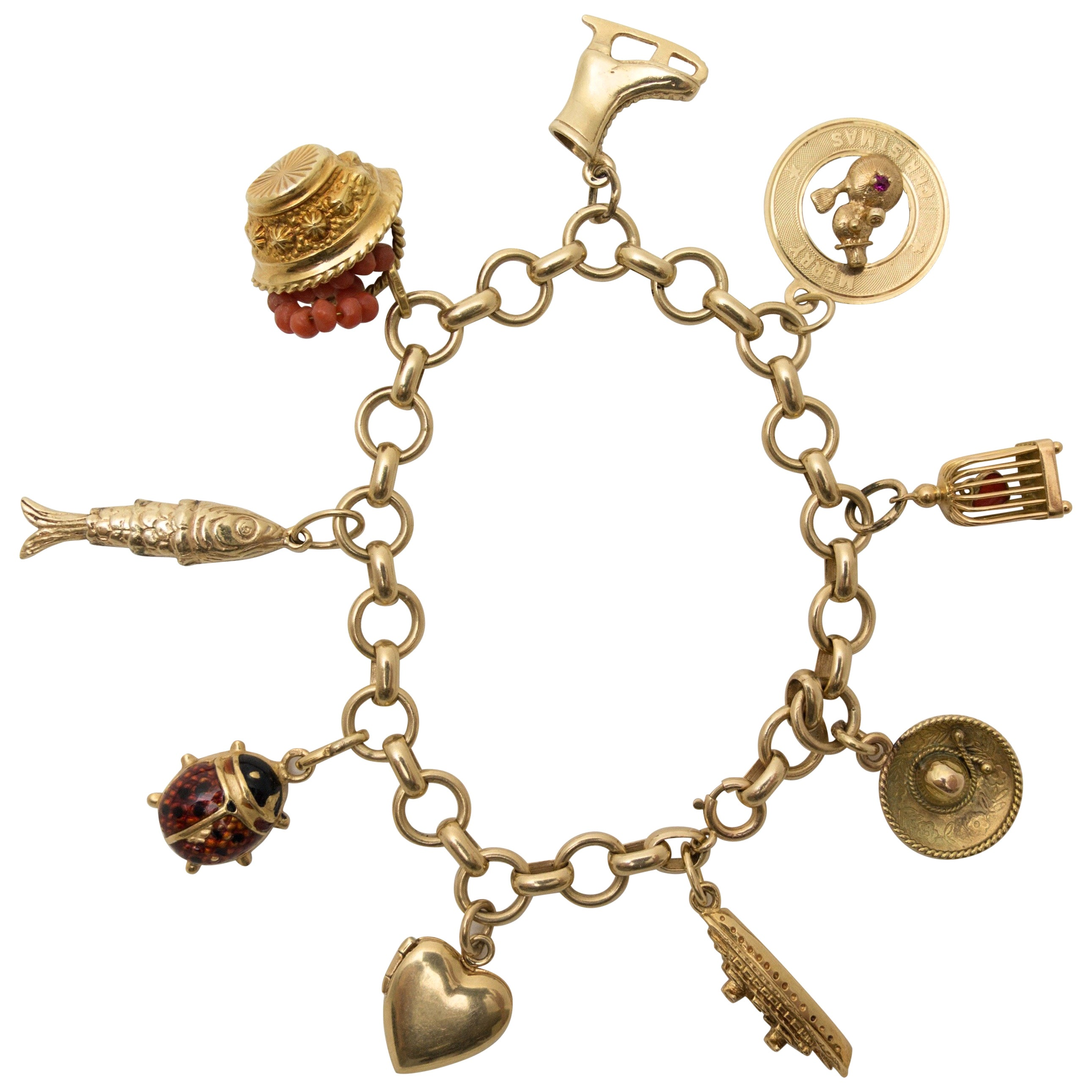 Vintage Gold Charms Bracelet