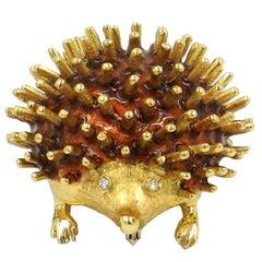 18 Karat Yellow Gold Enamel, Diamond Eyes Porcupine Brooch