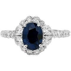 Blue Sapphire Diamond Halo Gold Ring