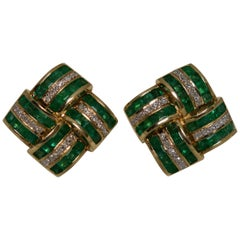 Pair of Square Diamond and Emerald 14 Karat Gold Earrings, 1960s