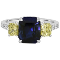 GIA Certified No Heat Blue Sapphire 4.94 Carat Diamond Three-Stone Gold Ring