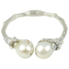 Cuff in Sterling Silver with South Sea Pearls
