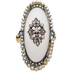 Handmade Victorian Camphor Glass, Diamond, and Seed Pearl 14 Karat Gold Ring