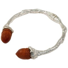 Twig Cuff in Sterling Silver with Carved Sawo Wood Acorns