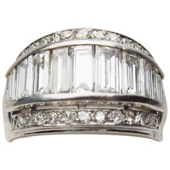 Midcentury Platinum 1.75 Carat Tapered Channel-Set Baguette Diamond Band