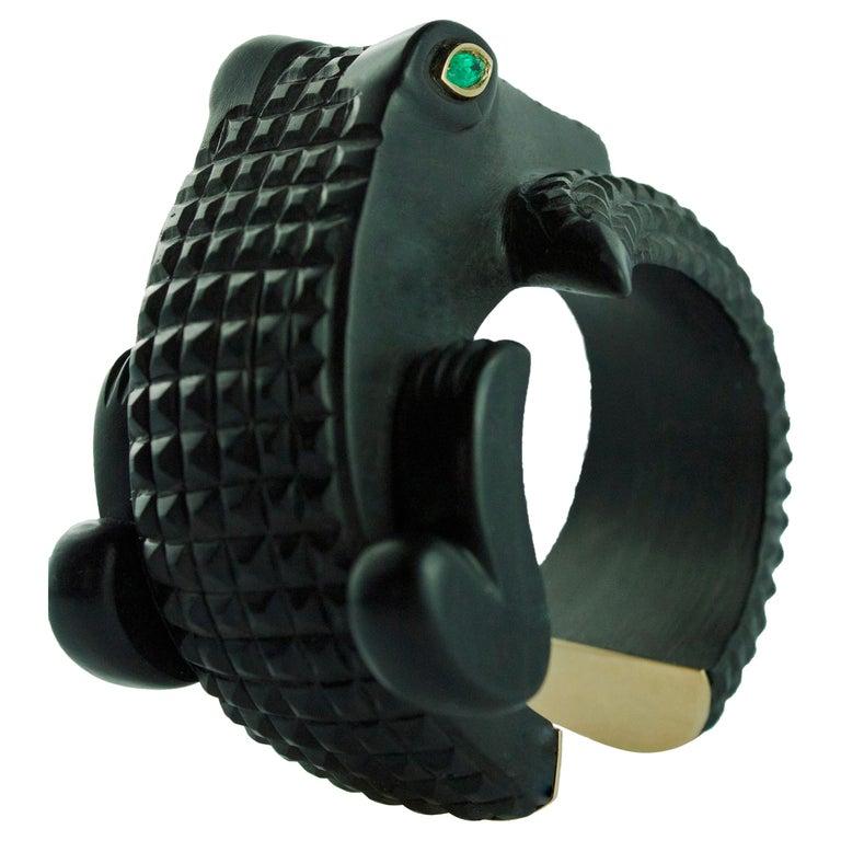 18 Karat Rose Gold Emerald Crocodile Wood Cuff Bracelet