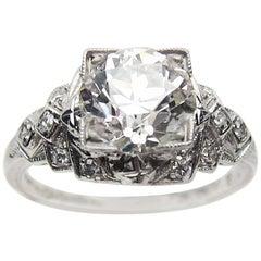 Art Deco Era 1.86 Ct Old European-Cut Diamond and Platinum Engagement Ring