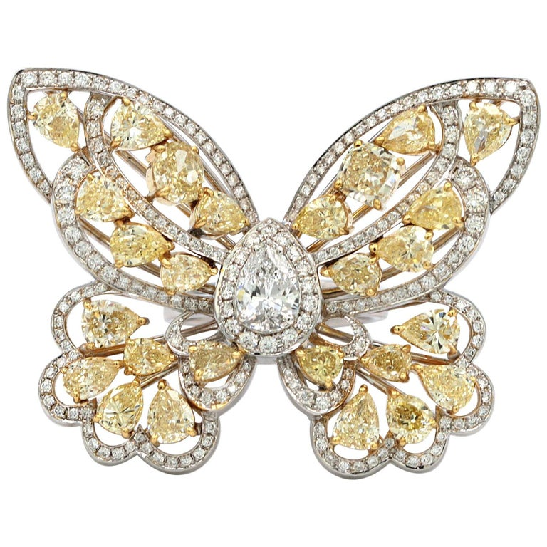 0.78 Carat EGL Butterfly Ring with Yellow and White Diamonds 18 Karat White Gold