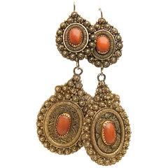 14 Karat Gold Handmade Coral Cabochon Dangle Earrings