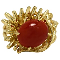 Natural Oval Oxblood Coral 18 Karat Gold Brutalist Statement Ring Modernist