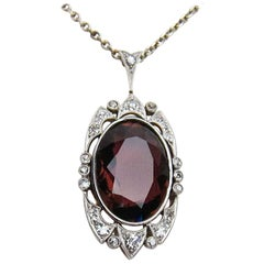 Edwardian Era Platinum 6.51 Carat Crimson Tourmaline and Diamond Pendant