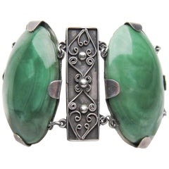 Mexican Sterling Silver Bracelet with Green Agate Cabochons, circa 1930