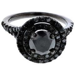 1.10 Carat Black Diamond Double Halo Ring with Black Diamond Halo