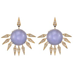 18 Karat Blue Chalcedony Diamond Sunrise Earrings