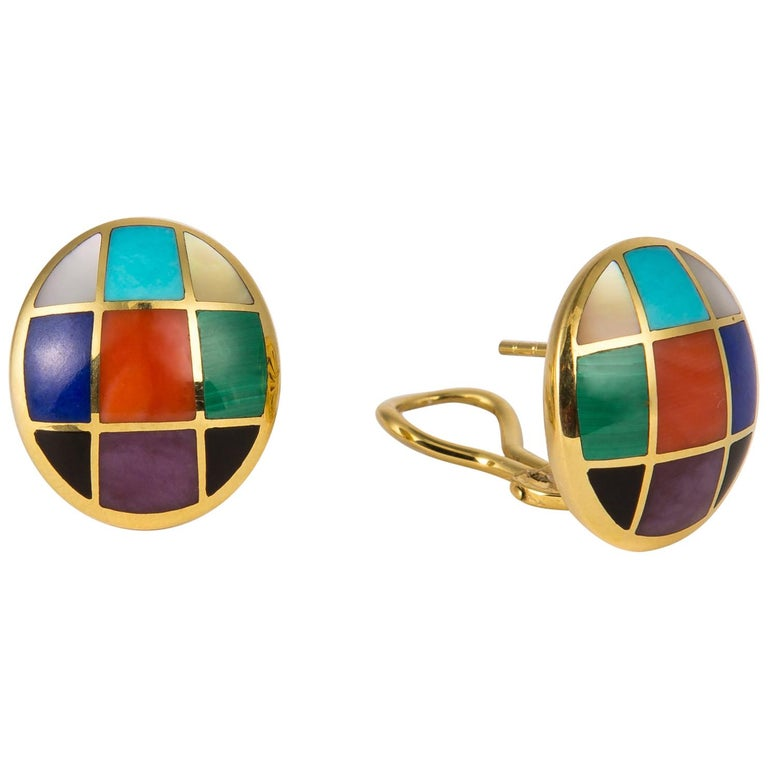 Asch Grossbardt Colored Stone Earrings For Sale