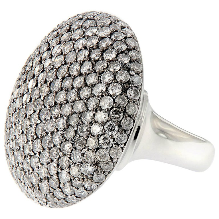 Scheffel Fancy Grey Diamond Cluster Dome Cocktail Ring For Sale