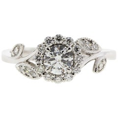 Floral/Nature Inspired Round Diamond Engagement Ring 'Certified'