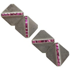 Art Deco Tiffany & Co. 14 Karat and Platinum Ruby Cufflinks