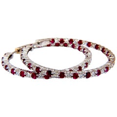 7.00 Carat Natural Red Ruby Diamond Hoop Earring Alternated Common Prong