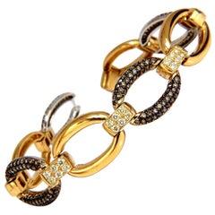 5.30 Carat Natural Fancy Yellow and Brown Diamond Link Bracelet 14 Karat