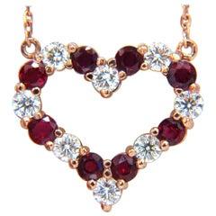 2.58 Carat Natural Vivid Red Ruby Diamond Heart Necklace 14 Karat