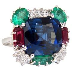 18 Carat Lab Sapphire Natural Emerald Ruby Diamonds Ring 18 Karat