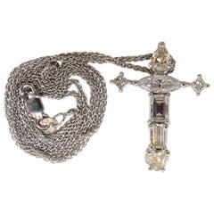 2.02 Carat Natural Multishaped Diamonds Cross Necklace and Chain 14 Karat