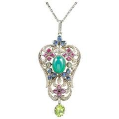 Antique Victorian Emerald Ruby Sapphire Pendant Necklace, circa 1880