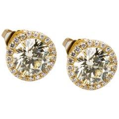 18 Karat Yellow Gold Diamond Halo Studs 2.22 Carat